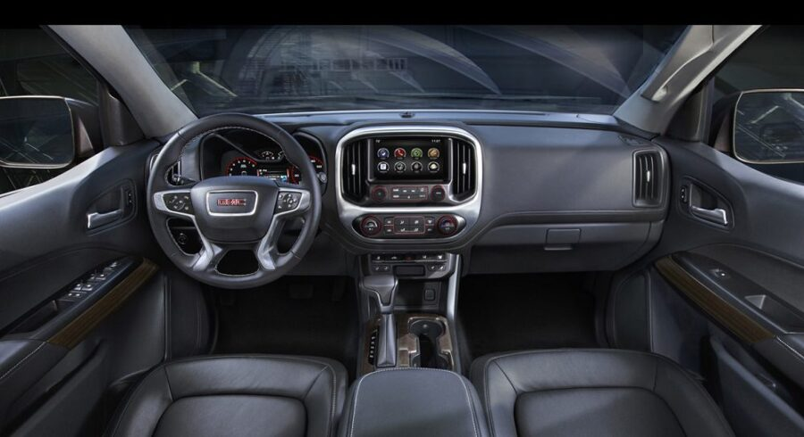 The all-new 2015 GMC Canyon interior is distinguished with exceptional attention to detail and premium appointments, including a bold, upright instrument panel with large instruments and a central driver information center.